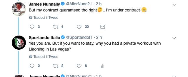 James Nunnally attacca su Twitter: Io ho contratto. E nega il provino per la Cina