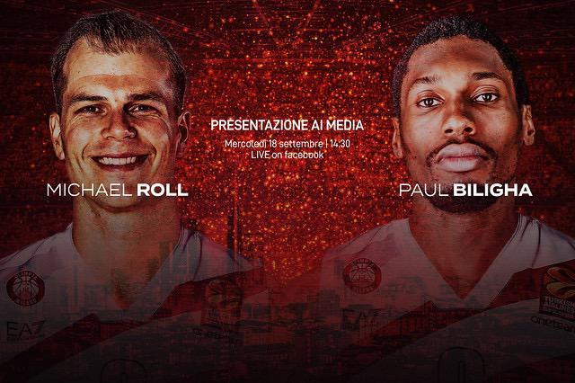 Olimpia Milano, mercoledì la presentazione di Roll e Biligha