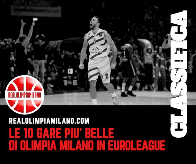 Olimpia Milano Eurolega: la classifica delle 10 migliori partite dell'era Armani