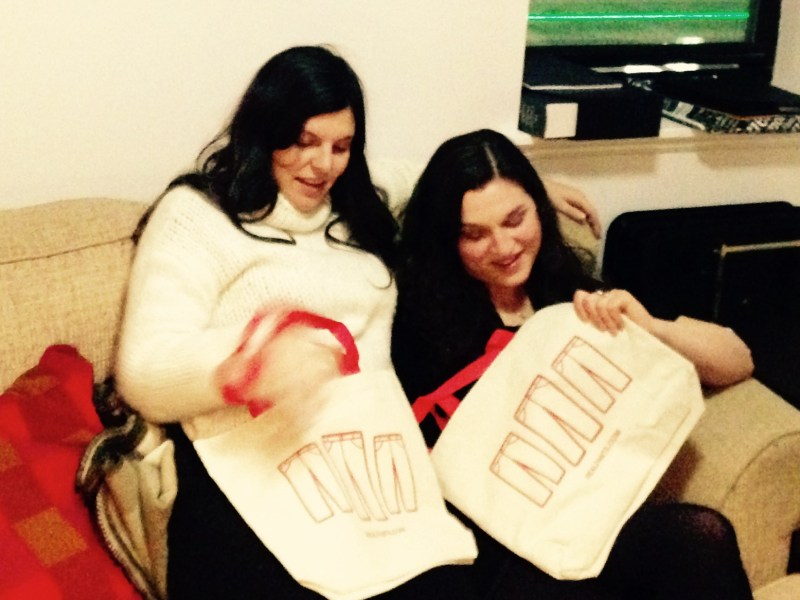 Amy and Sara Faye Green, who took delivery of the tote bags before our arrival in NYC
