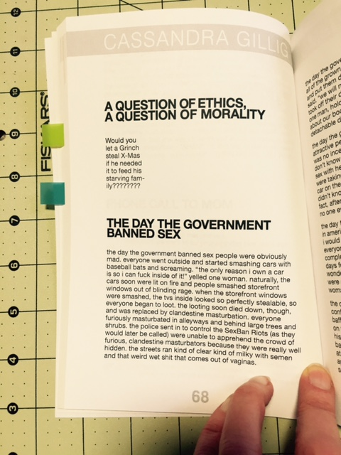 "Cassandra Gillig's ""A Question of Ethics / A Question of Morality"" & the beginning of ""The Day the Government Banned Sex"""