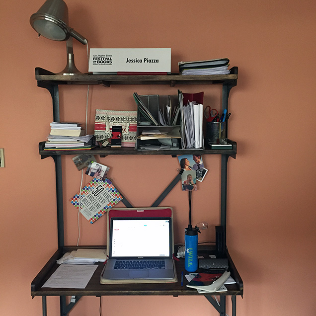 an image of poet Jessica Piazza's desk