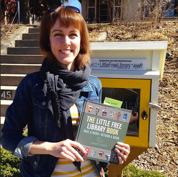 Happy Saturday! Here's CHP author Margret Aldrich in front of her little free library with her book, The Little Free Library Book (#meta). --@coffeehousepress