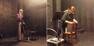 Kristi Maxwell reading and M. Mack setting up Milquetoast.