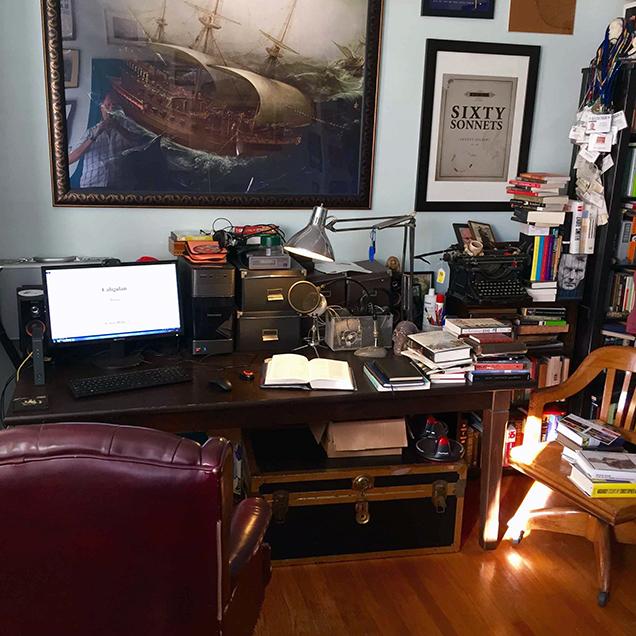 A photograph of the desk of Ernest Hilbert