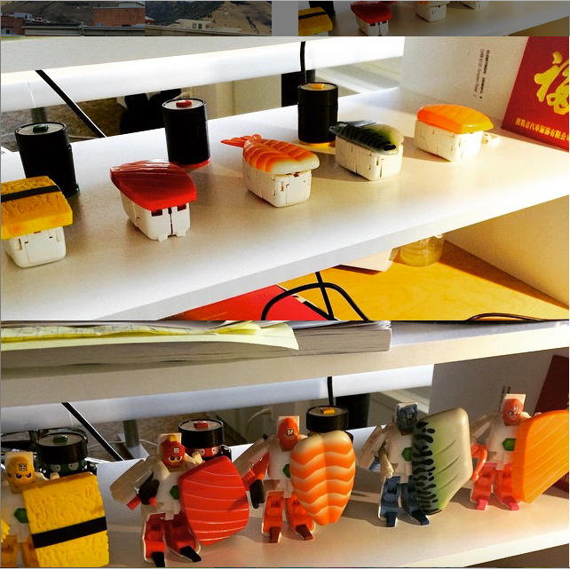 My desk at @Submittable has an array of #sushi transformers. They are kind of my favorite thing ever.