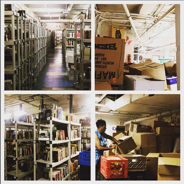 Below our beloved Crosby Street bookstore lives an endless trove. We receive an amazing amount of book donations every week, much of which are stored downstairs and sold online as a significant part of our fundraising enterprise.
