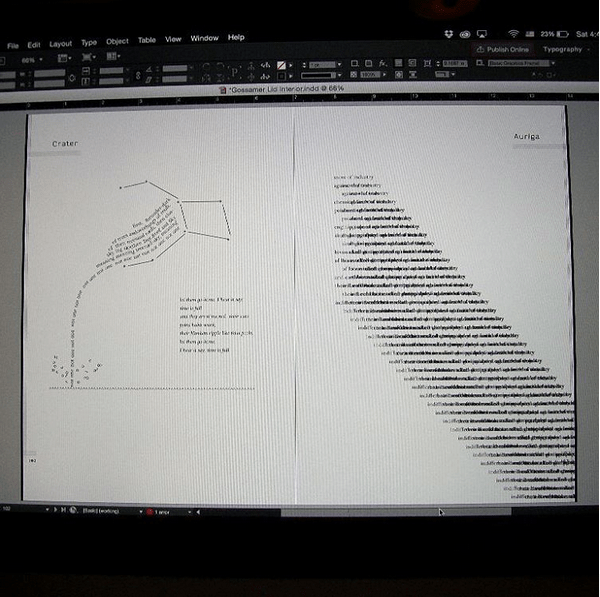 So glad to be finally getting this beast finished off (Andrew Brenza's Gossamer Lid). This is basically every spread in the book. I had to get pretty innovative to figure out how to set many of these spectacular poems. A lot of trial and error. But worth it in the end. I'm happy with how it has turned out.