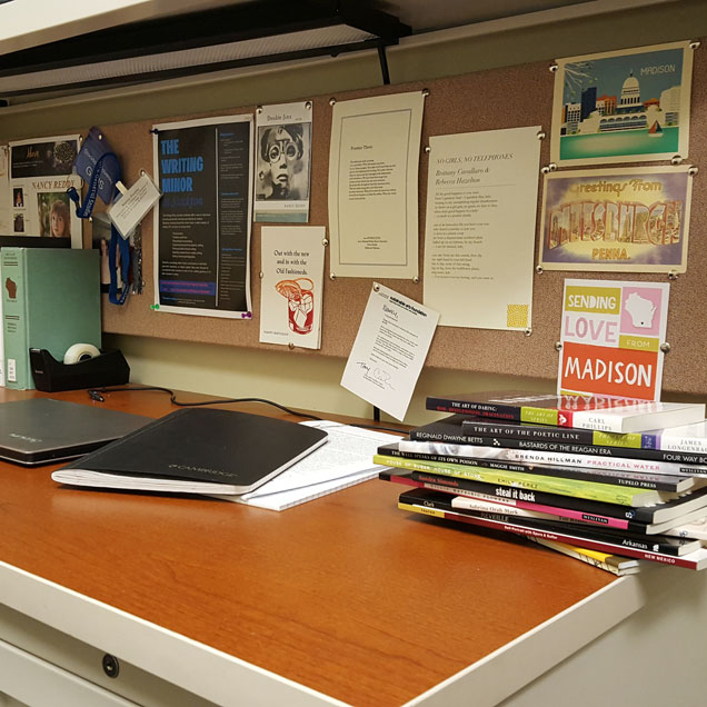 a photograph of the desk of author and poet Nancy Reddy