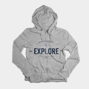 grey hoodie with explore on it
