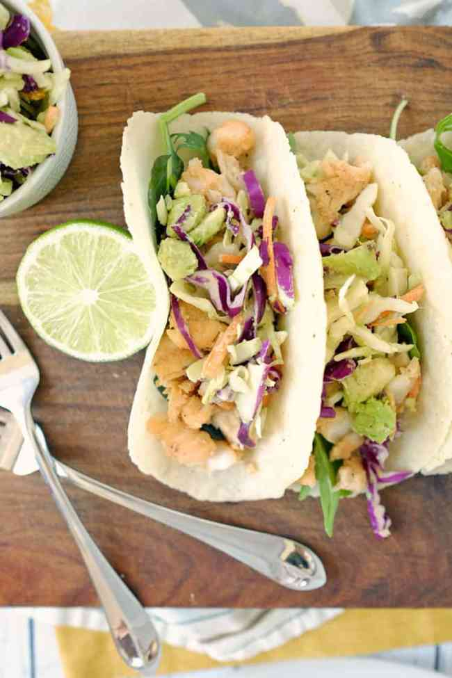 Paleo fish tacos and coleslaw two