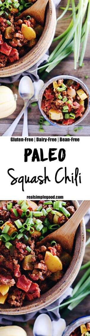 This Paleo squash chili is full of fall flavors and textures of winter squash, peppers, onions and tomatoes. Whole30 and easy to make in only 30 minutes! Paleo, Whole30, Gluten-Free, Dairy-Free + Bean-Free. | realsimplegood.com