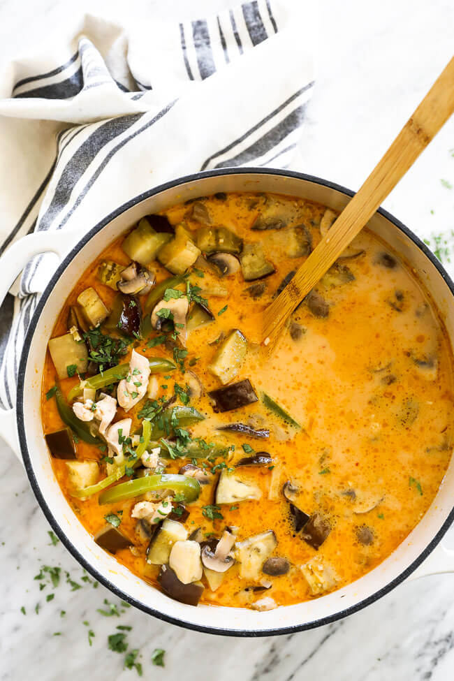 Chicken coconut curry soup in pot with spoon overhead vertical image