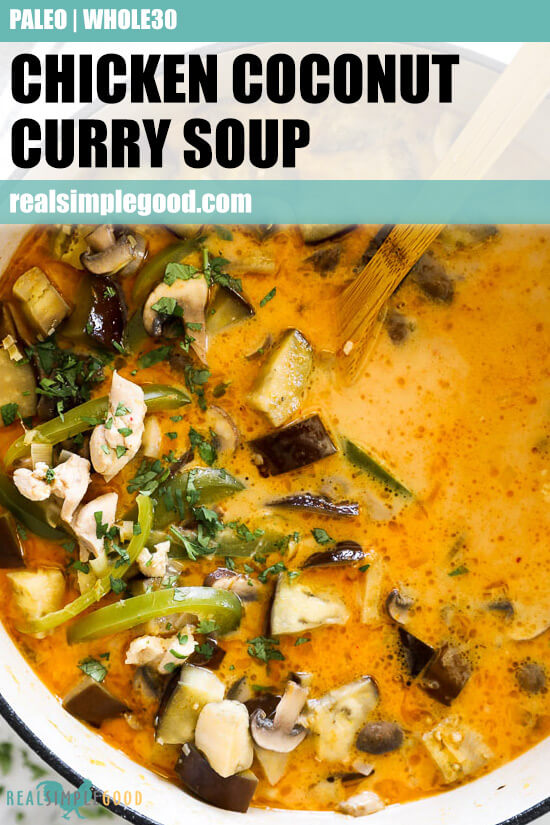 Chicken coconut curry soup in pot with spoon overhead vertical image with text at top