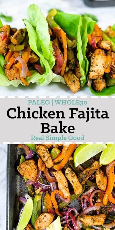 Sheet pan chicken fajita bake in butter lettuce shells. Also on a sheet pan.