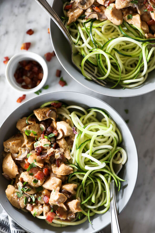 Close up shot of chicken with creamy mushroom sauce served in a bowl with zoodles and a fork.