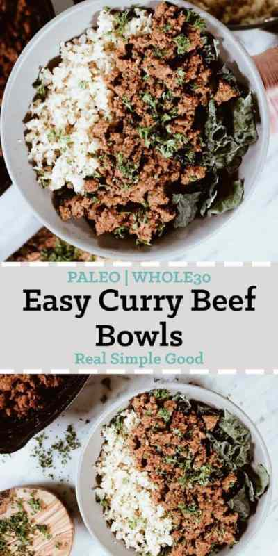 Today we are sharing with you our newest favorite dinner - the Paleo and Whole30 Easy Curry Beef Bowls! It's become a quick favorite because it's SO fast and easy to make and extra delicious too! #paleo #whole30   realsimplegood.com