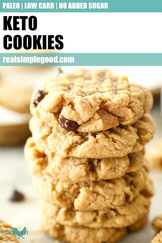 Close up stack of keto cookies with text overlay at top for pinterest.