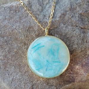 bronze blue pendant - Milk Vine Jewelry on Real Simple Mama