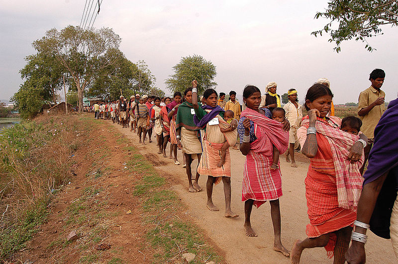 An Adivasi (local tribal group) protest