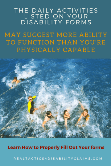 disability claim forms image of swimming