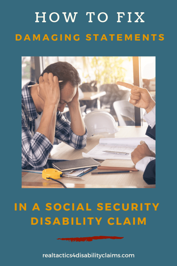 Damaging statements social security disability claim