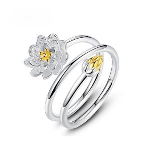 Women's Silver Lotus Ring 7
