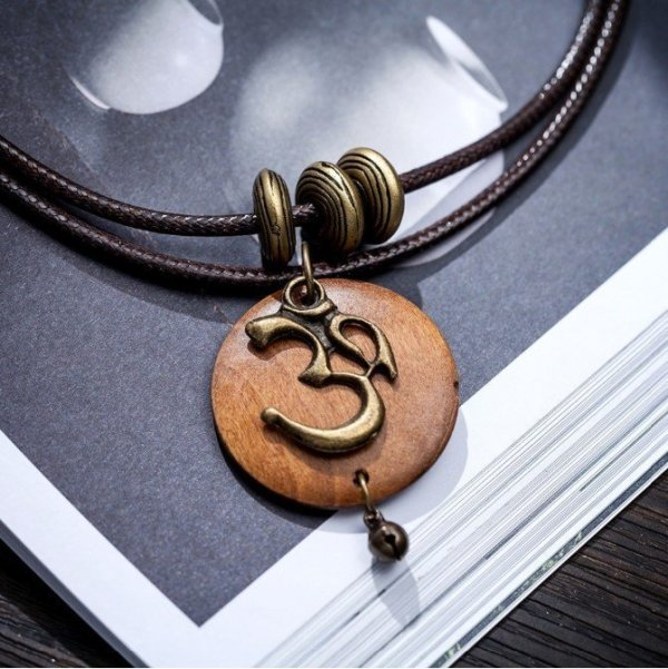 Women's OM Charm Wooden Necklace 1