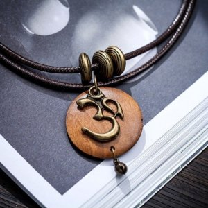 Women's OM Charm Wooden Necklace 10