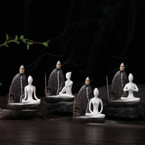 Yoga Asanas Incense Burner with 50 Pcs Incense Cones 1