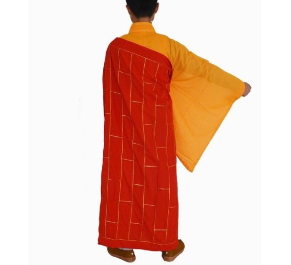 Men's Red and Yellow Style Buddhist Robe 4