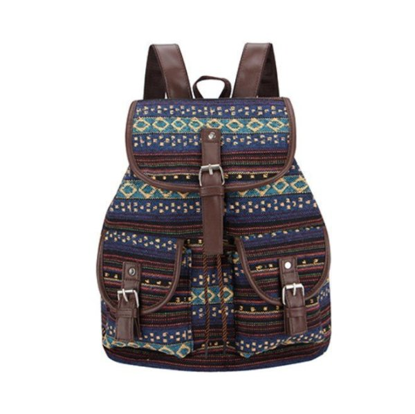 Women's Striped Ethnic Style Backpack 1