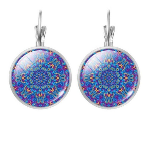 Women's Mandala Glass Earrings 1