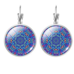 Women's Mandala Glass Earrings 5