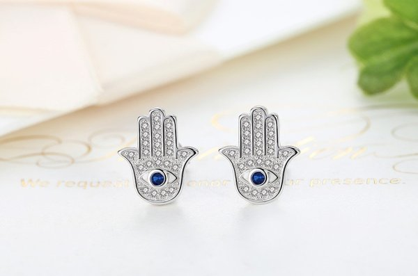 Women's 925 Sterling Silver Hamsa Hand Stud Earrings 2