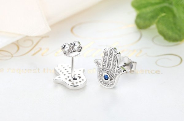 Women's 925 Sterling Silver Hamsa Hand Stud Earrings 3