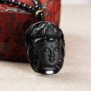 Natural Black Obsidian Buddha Necklace 4