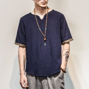 Men's Embroidered Trim Linen T-Shirt 7