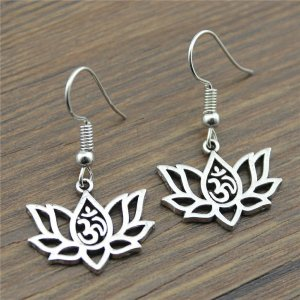 Women's Om Lotus Drop Earrings 7