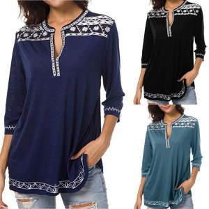 Women's Boho Trim V-Neck T-Shirt 2