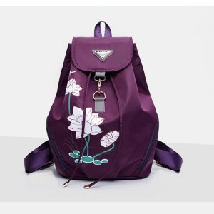 Women's Lotus Print Water Drop Backpack 7