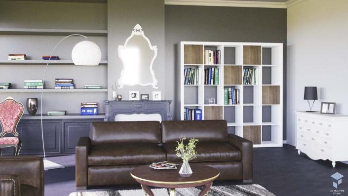 Intérieur 3D Salon Vintage Décoration intérieur