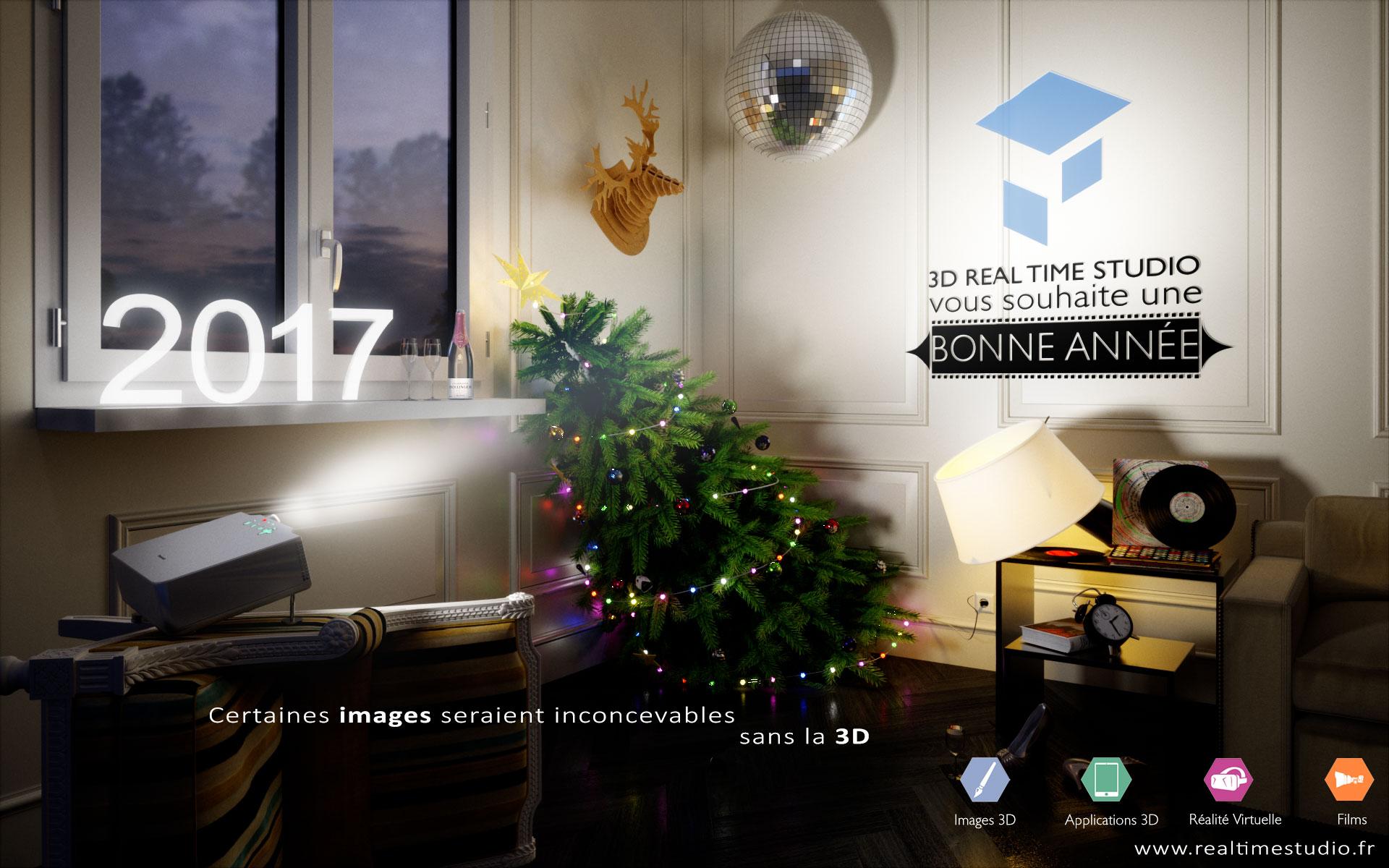 Bonne Année 2017 image 3D par 3D Real Time Studio