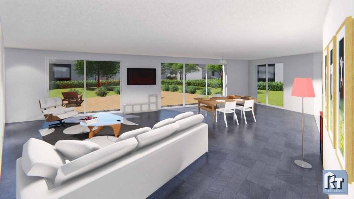 Rendu architecture intérieur images et vidéo vue salon 1