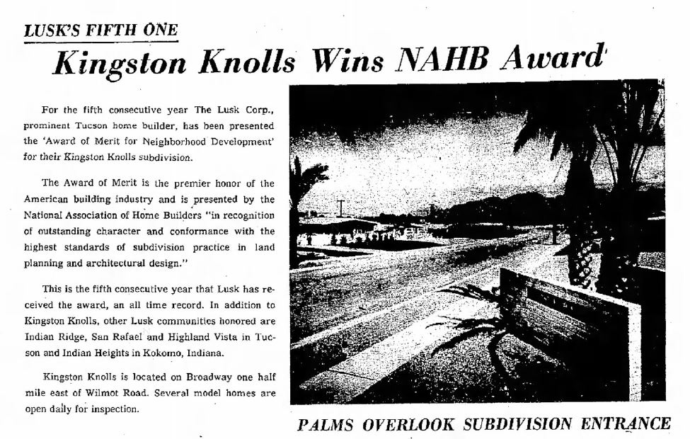 Lusk Kingston Knolls NAHB Award ad