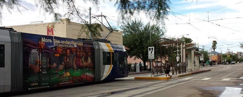 Tucson Streetcar at Time Market in West University neighborhood