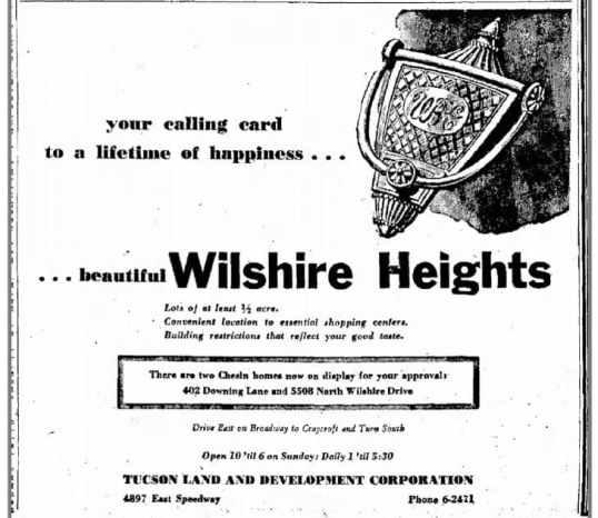 Wilshire Heights - 1954 newspaper advertisement