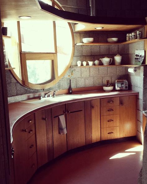 David and Gladys Wright Original round mahogany kitchen