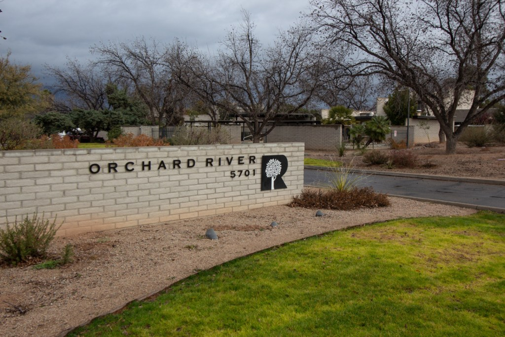 The entrance at Orchard River Townhomes