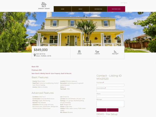 Sweet Home Real Estate Free Theme - Premium IDX Broker Wrapper